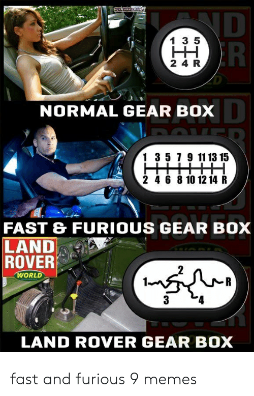 4 6: ND  R  1 3 5  HH  2 4 R  NORMAL GEAR BOX  1 3 5 7 9 11 13 15  2 4 6 8 10 12 14 R  FAST & FURIOUS GEAR BOX  LAND  ROVER  WORLD  R  3  LAND ROVER GEAR BOX fast and furious 9 memes
