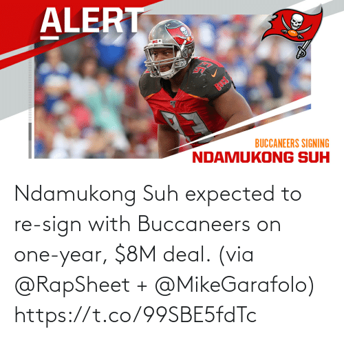One Year: Ndamukong Suh expected to re-sign with Buccaneers on one-year, $8M deal. (via @RapSheet + @MikeGarafolo) https://t.co/99SBE5fdTc