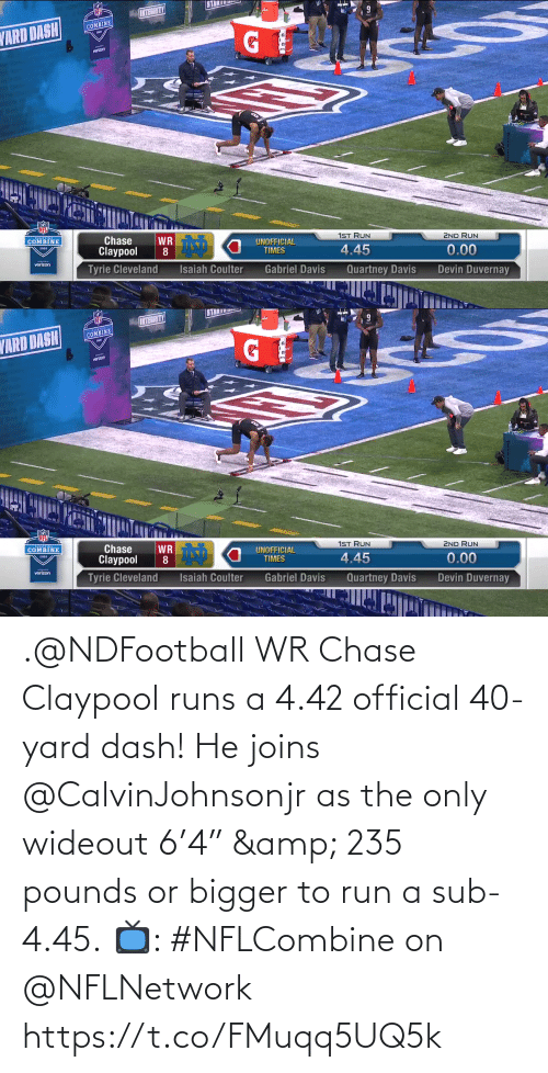 "Runs: .@NDFootball WR Chase Claypool runs a 4.42 official 40-yard dash!  He joins @CalvinJohnsonjr as the only wideout 6'4"" & 235 pounds or bigger to run a sub-4.45.  📺: #NFLCombine on @NFLNetwork https://t.co/FMuqq5UQ5k"
