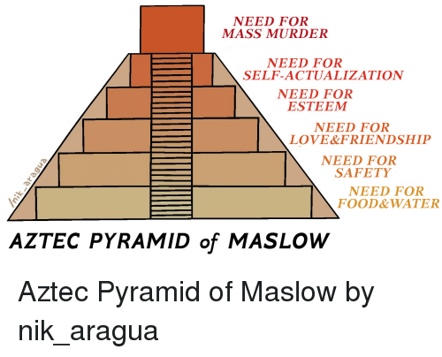 Food, Funny, and Love: NEED FOR  MASS MURDER  NEED FOR  SELF-ACTUALIZATION  NEED FOR  ESTEEMM  NEED FOR  LOVE&FRIENDSHIP  NEED FOR  SAFETY  NEED FOR  FOOD&WATER  AZTEC PYRAMID of MASLOW