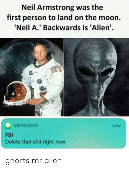 Fbi, Shit, and Neil Armstrong: Neil Armstrong was the  first person to land on the moon.  'Neil A.' Backwards is 'Alien'.  MESSAGES  now  FBI  Delete that shit right now gnorts mr alien
