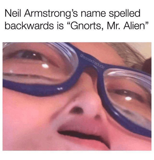 "alien 5: Neil Armstrong's name spelled  backwards is ""Gnorts, Mr. Alien""  5"