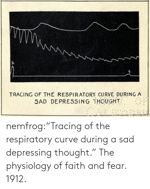 "org: nemfrog:""Tracing of the respiratory curve during a sad depressing thought."" The physiology of faith and fear. 1912."