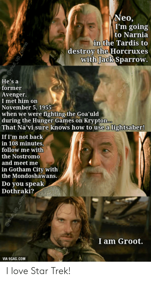 9gag, The Hunger Games, and Lightsaber: Neo,  I'm going  to Narnia  in the Tardis to  destroy the Horcruxes  with Jack Sparrow  hidu  He's a  former  Avenger,  I met him on  November 5, 1955  when we were fighting the Goa'uld  during the Hunger Games on Krypton  That Na'vi sure knows how to use a lightsaber!  If I'm not back  in 108 minutes,  follow me with  the Nostromo  and meet me  in Gotham City with  the Mondoshawans.  Do you speak  Dothraki?  I am Groot.  VIA 9GAG.COM I love Star Trek!