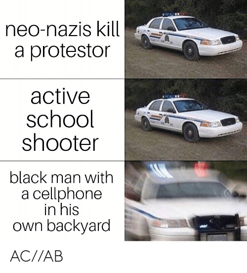 School Shooter: neo-nazis kill  a protestor  active  school  shooter  black man with  a cellphone  in his  own backyard AC//AB