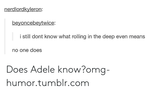 Adele, Omg, and Tumblr: nerdlordkyleron  beyoncebeytwice:  i still dont know what rolling in the deep even means  no one does Does Adele know?omg-humor.tumblr.com