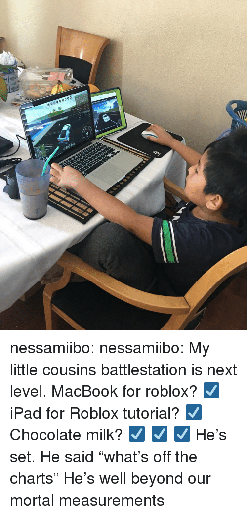 """Ipad, Tumblr, and Blog: nessamiibo:  nessamiibo:   My little cousins battlestation is next level. MacBook for roblox? ☑️ iPad for Roblox tutorial? ☑️ Chocolate milk? ☑️ ☑️ ☑️  He's set.   He said """"what's off the charts"""" He's well beyond our mortal measurements"""