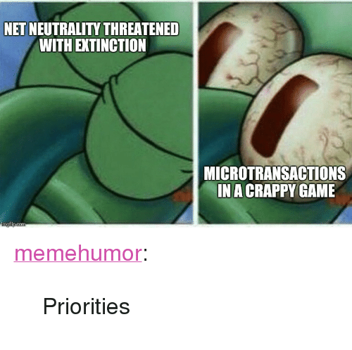 "Microtransactions: NET NEUTRALITY THREATENE  WITH EXTINCTION  MICROTRANSACTIONS  IN A CRAPPY GAME <p><a href=""http://memehumor.net/post/167624228615/priorities"" class=""tumblr_blog"">memehumor</a>:</p>  <blockquote><p>Priorities</p></blockquote>"