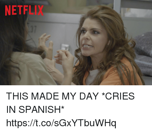 cries in spanish: NETFLIX  37 THIS MADE MY DAY  *CRIES IN SPANISH*  https://t.co/sGxYTbuWHq