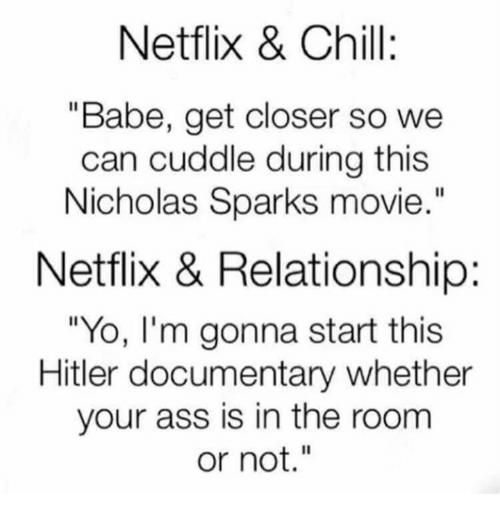 """Nicholas Sparks: Netflix & :  """"Babe, get closer so we  can cuddle during this  Nicholas Sparks movie.""""  Netflix & Relationship:  """"Yo, I'm gonna start this  Hitler documentary whether  your ass is in the room  or not."""""""