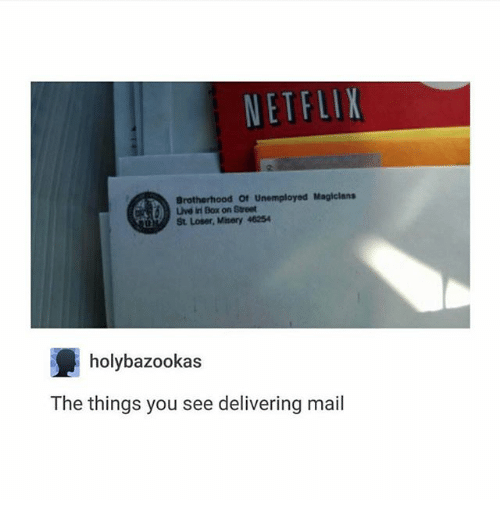 netflixs: NETFLIX  Brotherhood Of Unemployed Magicians  Lve in Box on Street  St Loser, Misery 46254  holybazookas  The things you see delivering mail