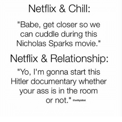"""Hitlerism: Netflix & Chill:  """"Babe, get closer so we  can cuddle during this  Nicholas Sparks movie.""""  Netflix & Relationship:  """"Yo, lI'm gonna start this  Hitler documentary whether  your ass is in the room  or not."""" ovityidian  ®wittyidiot"""