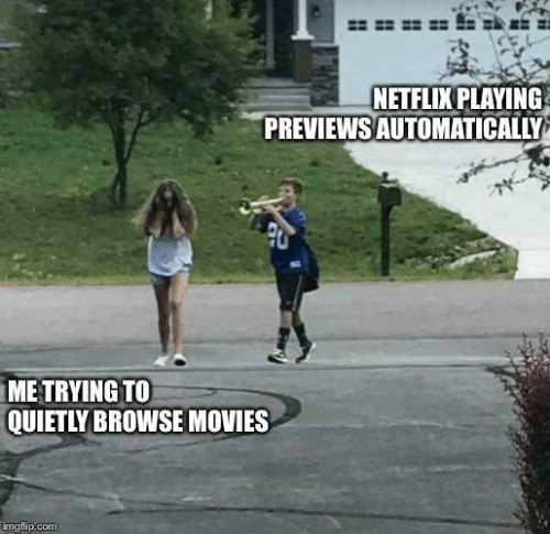 automatically: NETFLIX PLAYING  PREVIEWS AUTOMATICALLY  ME TRYING TO  QUIETLY BROWSE MOVIES  imgflip.com