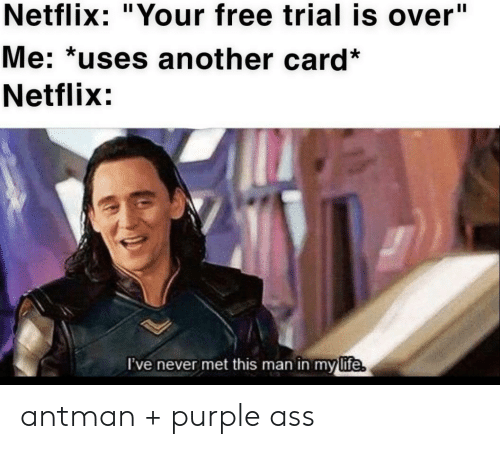 """Ass, Life, and Netflix: Netflix: """"Your free trial is over""""  Me: *uses another card*  Netflix:  I've never met this man in my  life antman + purple ass"""