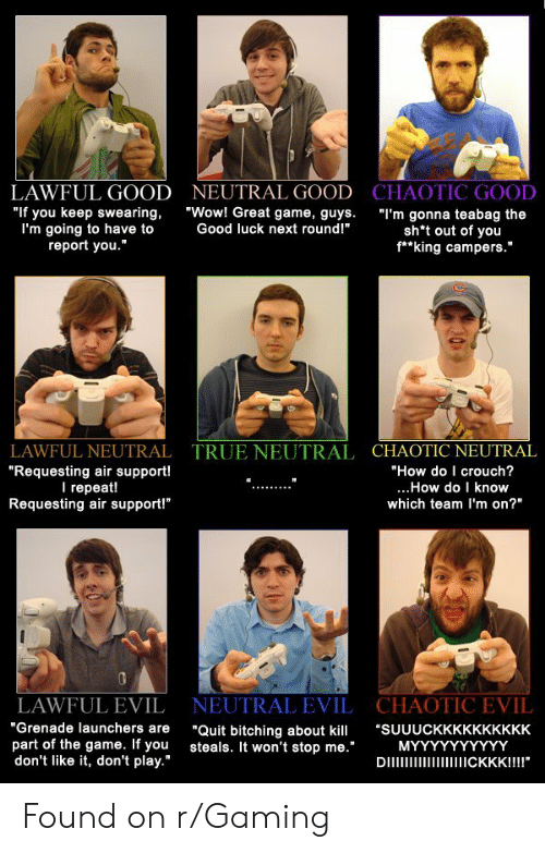 "The Game, True, and Wow: NEUTRAL GOOD CHAOTIC GOOD  LAWFUL GOOD  ""Wow! Great game, guys.  ""If you keep swearing,  I'm going to have to  report you.""  ""I'm gonna teabag the  sh*t out of you  f*king campers.""  Good luck next round!""  TRUE NEUTRAL CHAOTIC NEUTRAL  ""How do I crouch?  LAWFUL NEUTRAL  ""Requesting air support!  I repeat!  Requesting air support!""  ...How do I know  which team I'm on?""  CHAOTIC EVIL  NEUTRAL EVIL  LAWFUL EVIL  ""Grenade launchers are  part of the game. If you  don't like it, don't play.""  ""Quit bitching about kill  steals. It won't stop me.""  DI  ""SUUUCKKKKKKKKKK  ΜΥΥΥΥΥΥΥΥΥ  CKKK!!!!"" Found on r/Gaming"