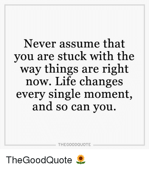 Life Change: Never assume that  you are stuck with the  way things are right  now. Life changes  every single moment,  and so can you  THE GOOD QUOTE TheGoodQuote 🌻
