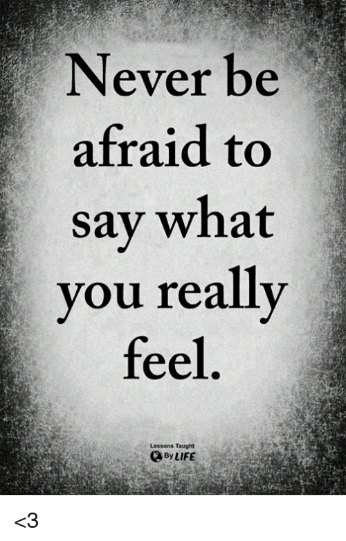 Life, Memes, and Never: Never be  afraid to  sav what  you really  feel  Lessons Taught  By LIFE <3