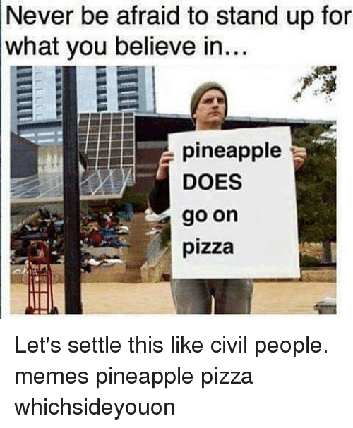 Memes, Pizza, and Pineapple: Never be afraid to stand up for  what you believe in...  pineapple  DOES  go on  pizza Let's settle this like civil people. memes pineapple pizza whichsideyouon