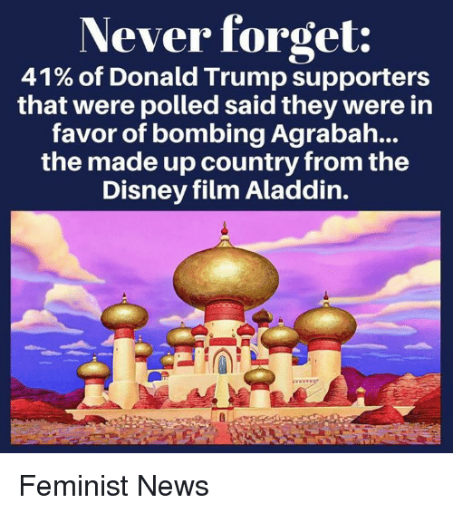 Donald Trump Supporters: Never forget:  41% of Donald Trump supporters  that were polled said they were in  favor of bombing Agrabah...  the made up country from the  Disney film Aladdin. Feminist News