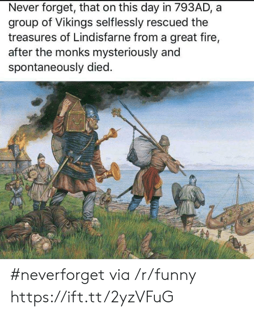 Neverforget: Never forget, that on this day in 793AD, a  group of Vikings selflessly rescued the  treasures of Lindisfarne from a great fire,  after the monks mysteriously and  spontaneously died. #neverforget via /r/funny https://ift.tt/2yzVFuG
