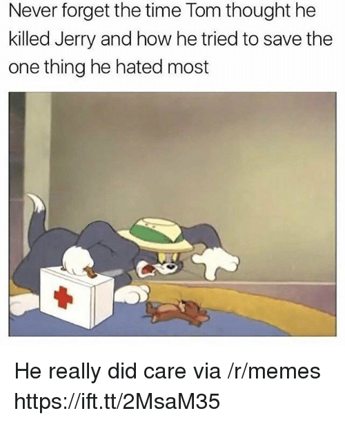 Memes, Time, and Never: Never forget the time Tom thought he  killed Jerry and how he tried to save the  one thing he hated most He really did care via /r/memes https://ift.tt/2MsaM35