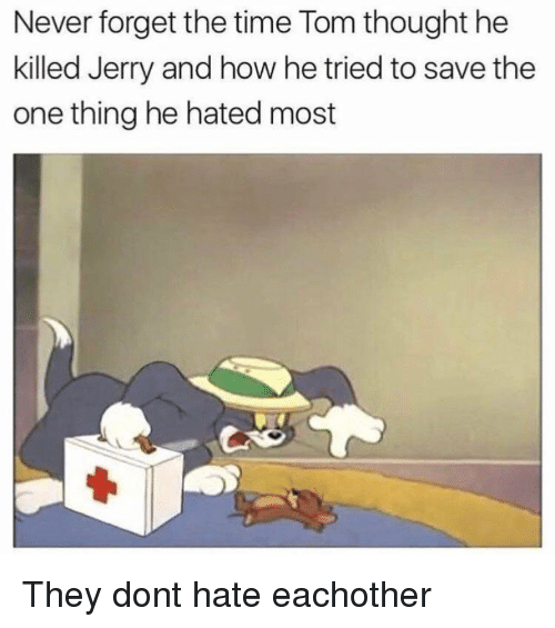 Time, Never, and Thought: Never forget the time Tom thought he  killed Jerry and how he tried to save the  one thing he hated most They dont hate eachother