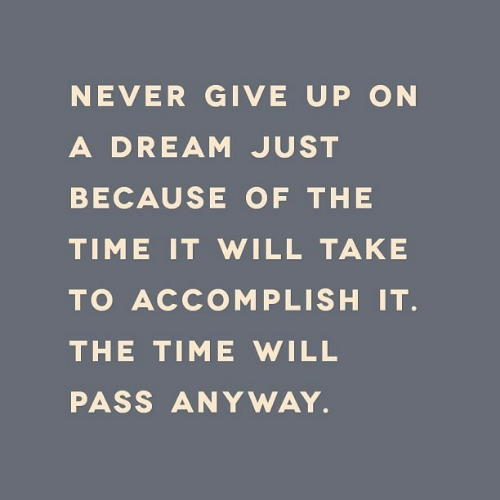A Dream, Time, and Never: NEVER GIVE UP ON  A DREAM JUST  BECAUSE OF THE  TIME IT WILL TAKE  TO ACCOMPLISH IT.  THE TIME WILL  PASS ANYWAY.