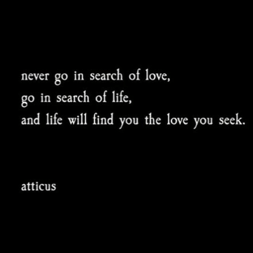 Life, Love, and Search: never go in search of love,  go in search of life,  and life will find you the love you seek  atticus