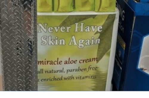 Free, Never, and Crea: Never Have  Skin Again  miracle aloe crea  ll natural, paraben free  enriched with vitami