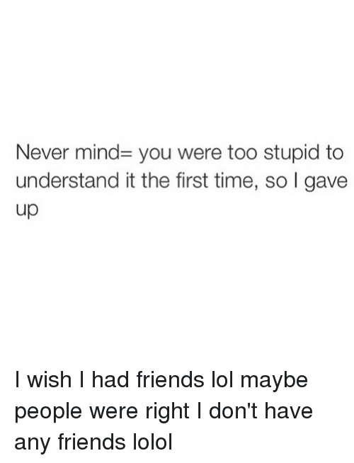 i don't have any friends: Never mind you were too stupid to  understand itthe first time, so I gave  up I wish I had friends lol maybe people were right I don't have any friends lolol