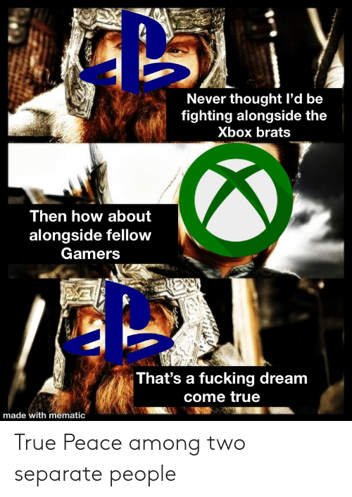 alongside: Never thought l'd be  fighting alongside the  Xbox brats  Then how about  alongside fellow  Gamers  That's a fucking dream  come true  made with mematic True Peace among two separate people