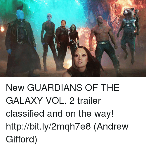 classifieds: New GUARDIANS OF THE GALAXY VOL. 2 trailer classified and on the way! http://bit.ly/2mqh7e8  (Andrew Gifford)