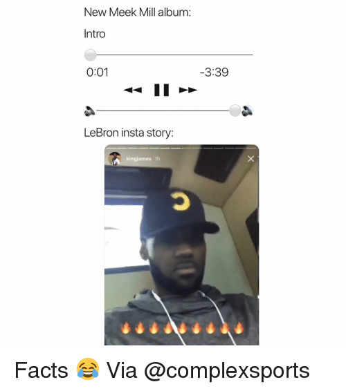 Meek Mill: New Meek Mill album:  Intro  0:01  3:39  LeBron insta story:  kingjames 1h Facts 😂 Via @complexsports