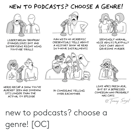 genre: NEW TO PODCASTS? CHOOSE A GENRE!  MAN WITH NO ACADEMLC  CREDENTLALS YELLS ABOUT  A HISTORY B0OK HE READ  LN 9-HOUR INSTALLMENTS  SEEMINGLY NORMAL,  LIBERTARLAN 'BROPRAH  EVANGELIZES DMT AN)D  INTERVIEWS RIGHT WING  NICE ADULTS PLAYFULLY  CHIT CHAT ABOUT  GRUESOME MURDER  YOUTUBE TROLLS  NERDS RECAP A SHOW YOU'VE  ALREADY SEEN AND SOMEHOW  LIKE NPR'S FRESH AIR  BUT BY A DEPRESSED  COMEDLAN WHO PROBABLY  30 COMEDLANS YELLING  OVER EACHOTHER  LT'S LONGER THAN THE  ACTUAL TV EPISODE  HAS CATS  eqe new to podcasts? choose a genre! [OC]