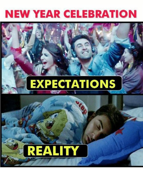 Memes, New Year's, and Reality: NEW YEAR CELEBRATION  EXPECTATIONS  REALITY