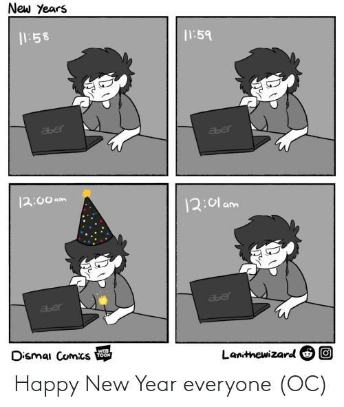 toon: New Years  |1:58  |1:59  aber  aber  12:00 am  12:01 am  aber  aber  Dismai Comics  WEB  TOON  Lanithewizard O O Happy New Year everyone (OC)