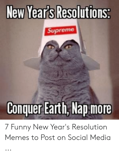 Resolution Memes: New Years Resolutions  Conquer Earth,Nap more 7 Funny New Year's Resolution Memes to Post on Social Media ...