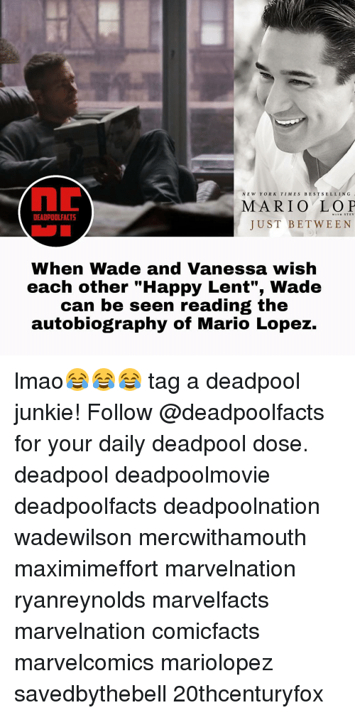 """Autobiography: NEW YORK TIMES BEST SELLING  MARIO WITH STEV  DEADPOOL FACTS  JUST BETWEEN  When Wade and Vanessa wish  each other """"Happy Lent"""", Wade  can be seen reading the  autobiography of Mario Lopez. lmao😂😂😂 tag a deadpool junkie! Follow @deadpoolfacts for your daily deadpool dose. deadpool deadpoolmovie deadpoolfacts deadpoolnation wadewilson mercwithamouth maximimeffort marvelnation ryanreynolds marvelfacts marvelnation comicfacts marvelcomics mariolopez savedbythebell 20thcenturyfox"""