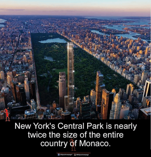 central park: New York's Central Park is nearly  twice the size of the entire  country of Monaco.