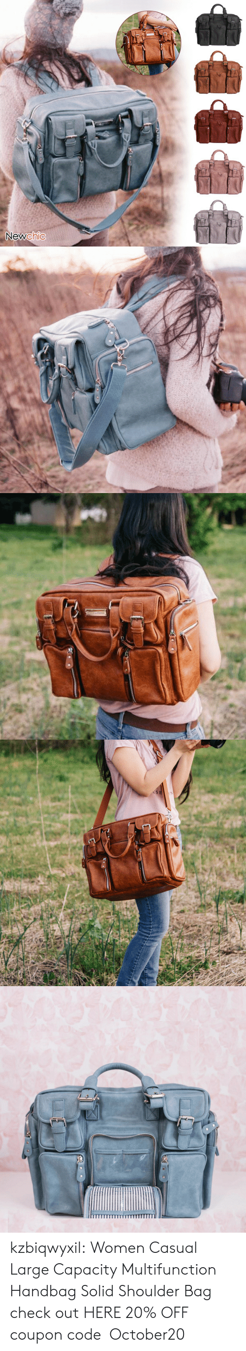 Tumblr, Blog, and Women: Newchic   USE kzbiqwyxil: Women Casual Large Capacity Multifunction Handbag Solid Shoulder Bag check out HERE 20% OFF coupon code:October20