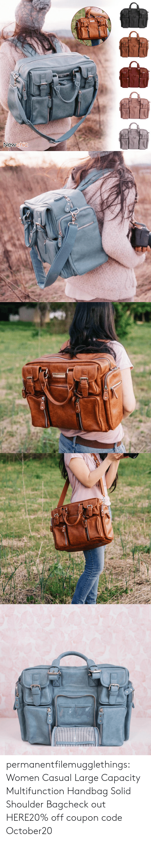 Tumblr, Blog, and Women: Newchic   USE permanentfilemugglethings:  Women Casual Large Capacity Multifunction Handbag Solid Shoulder Bagcheck out HERE20% off coupon code:October20