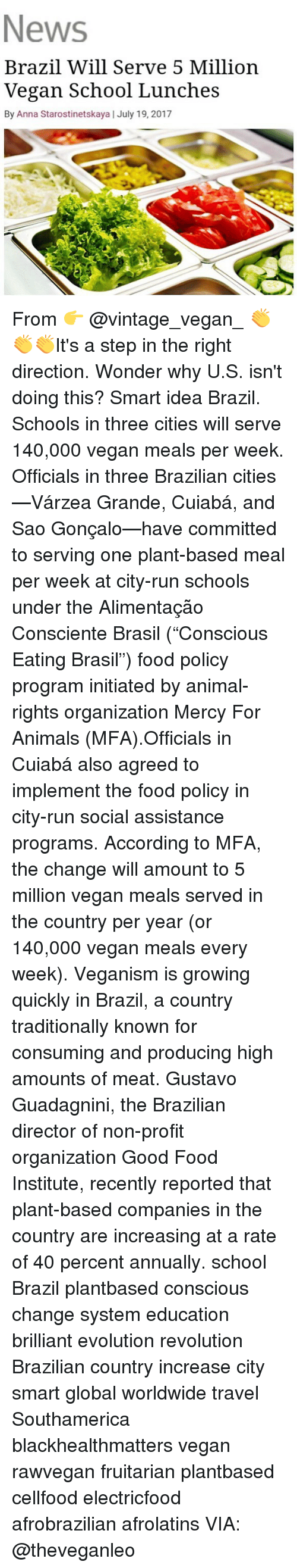 """Animals, Anna, and Food: News  Brazil Will Serve 5 Million  Vegan School Lunches  By Anna Starostinetskaya 