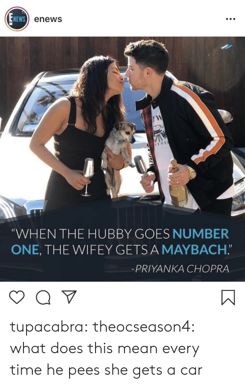 """hubby: NEWS  enews  IFOR  (C  WHEN THE HUBBY GOES NUMBER  ONE, THE WIFEY GETSA MAYBACH.""""  -PRIYANKA CHOPRA tupacabra:  theocseason4:  what does this mean  every time he pees she gets a car"""