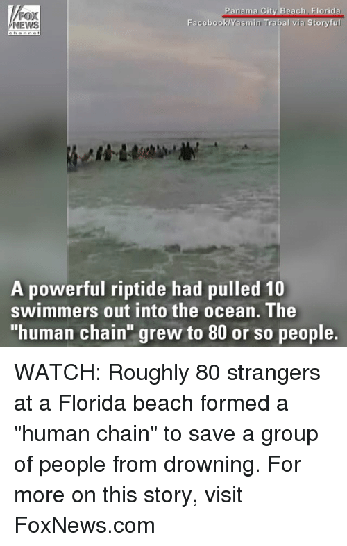 "oceaneering: NEWS  Facebook  sm  oryfu  A powerful riptide had pulled 10  swimmers out into the ocean. The  ""human chain grew to 80 or so people. WATCH: Roughly 80 strangers at a Florida beach formed a ""human chain"" to save a group of people from drowning. For more on this story, visit FoxNews.com"