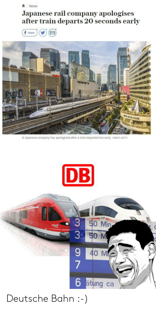 News, Train, and Japanese: News  Japanese rail company apologises  after train departs 20 seconds early  f share)  5  A apanese company has apologised after a train departed too early CREDIT GETT  DB  AP  0 Min  40 M  6  ätung ca Deutsche Bahn :-)