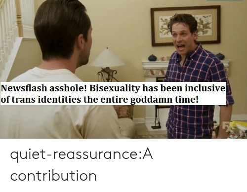 Identities: Newsflash asshole! Bisexuality has been inclusive  of trans identities the entire goddamn time! quiet-reassurance:A contribution