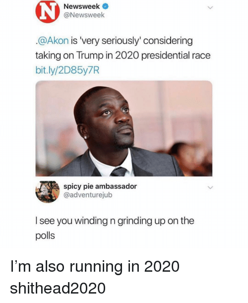 Akon: Newsweek  @Newsweek  @Akon is 'very seriously' considering  taking on Trump in 2020 presidential race  bit.ly/2D85y7R  spicy pie ambassador  @adventurejub  l see you winding n grinding up on the  polls I'm also running in 2020 shithead2020