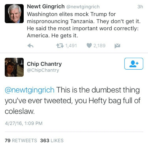 hefty: Newt Gingrich @newtgingrich  Washington elites mock Trump for  mispronouncing Tanzania. They don't get it.  He said the most important word correctly:  America. He gets it.  3h  1,4912,189  Chip Chantry  @ChipChantry  @newtgingrich This is the dumbest thing  you've ever tweeted, you Hefty bag full of  coleslaw.  4/27/16, 1:09 PM  79 RETWEETS 363 LIKES