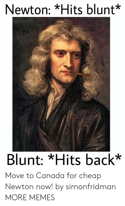 Move To Canada: Newton: *Hits blunt*  Blunt: *Hits back* Move to Canada for cheap Newton now! by simonfridman MORE MEMES