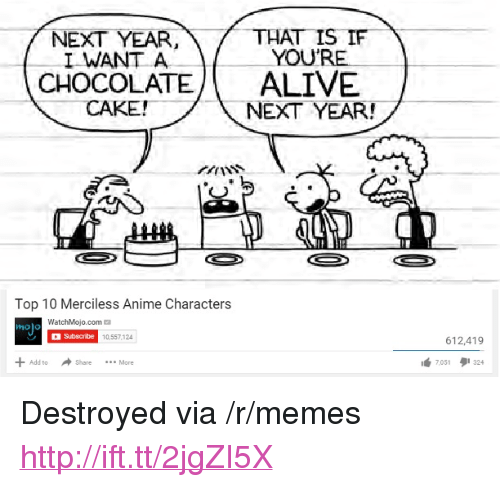 "Anime, Memes, and Http: NEXT YEAR,THAT IS IF  I WANT A  YOU  CHOCOLATEALIVE  NEXT YEAR!  ANSS  Top 10 Merciless Anime Characters  ino)  WatchMojo.com  holo  10,557,124  612,419  Add to  Share More  7051タ1324 <p>Destroyed via /r/memes <a href=""http://ift.tt/2jgZI5X"">http://ift.tt/2jgZI5X</a></p>"